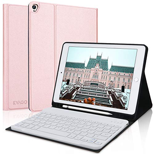 KVAGO Case with Keyboard for iPad 10.2, Bluetooth Spanish Keyboard for iPad 10.2 2019(7th Gen)/iPad Air 3/iPad Pro 10.5, Smart Cover with Auto-Sleep/Stella, Rose Gold