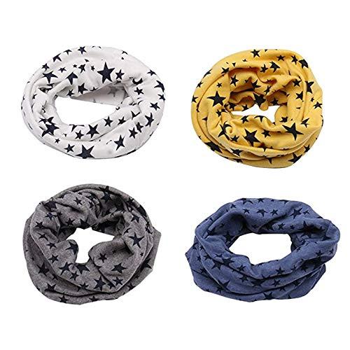 Richaa 4 pezzi Sciarpe Infinity per bambini, scaldacollo in cotone invernale stella per ragazzi ragazze Sciarpe colletto con O-ring multiuso Cappello Bandana