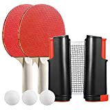 Instant Table Tennis Set with Retractable Net, 2 Table Tennis Bats, 3 Balls