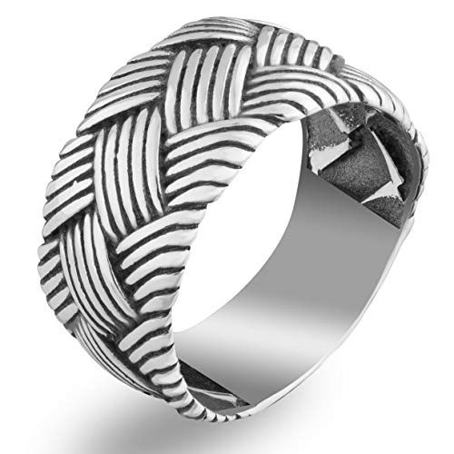 Braided Celtic Knot Band Ring Oxidized 925 Sterling Silver Wide Interwoven Wedding Viking Rings Norse Nordic Jewelry for Men Women Vintage Style