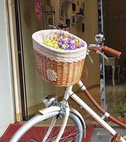 Cestino della Bicicletta di Vimini Vintage, Cestino della Bici del Manubrio Anteriore in Vimini con Cinghie del Manubrio Marrone per Picnic Pet Flowers Storage-F