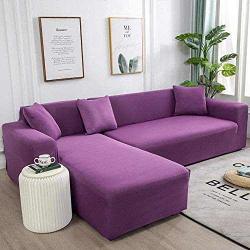 B/H Ecksofa L Form Stretch Antirutsch,Für Wohnzimmer Elastic Spandex Couch Bezug Stretch Sofa Handtuch L Shape-Candy_Purple_3-Seat_and_3-Seat,Sofabezüge Polyester Stoff Stretch Schonbezüge