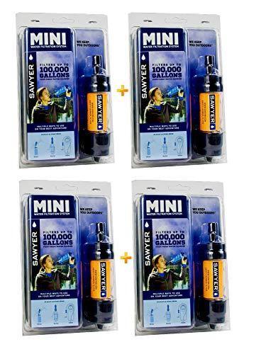 Sawyer Mini - Filtre d'eau pour randonnée, accessoire camping, trekking, MINI set de 4, purificateur d'eau de robinet (MINI set de 4 Orange)