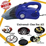 Oshotto 100W Heavy Duty Car Vacuum Cleaner Cum 120W Heavy Duty Air Compressor/Tyre Inflator (2 in 1)-Blue
