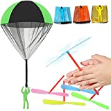 48 Pieces Flying Toys, Included 8 Pieces Throw Parachute Soldier Toys, 40 Pieces Plastic Flying Dragonfly Toys Hand Colorful Spin Copter Hand Toys for Boys and Girls