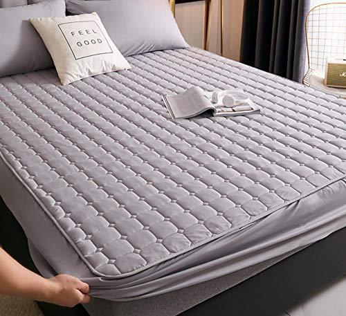 XLMHZP colchas Lisas,Sábana Acolchada Protector de colchón de sábana de Cama Transpirable Engrosada de una Sola Pieza para Evitar Que el Polvo decore el Dormitorio-R_120x200cm+30cm