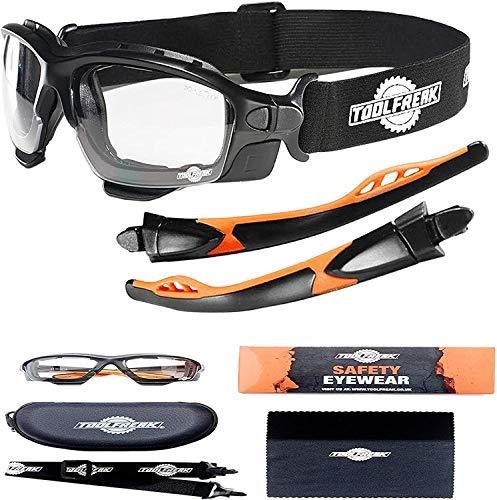 Schutzbrille und Sicherheitsbrille Perfekte Kombination | Premium Sicherheits-Spoggles von ToolFreak | Mit Schaumstoffpolsterung | Stylischer Augenschutz | Anti-Kratzbeständig (klare Linsen)