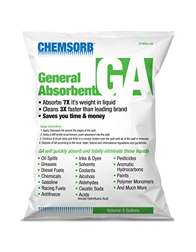Chemsorb GA - General Absorbent - 5 Gal. Bag, SP30GA-L5B, Universal Absorbent, Light Weight Spill Response. Silica Free, Absorb: Oil, Grease, Chemicals, Pesticides, Solvents, Diesel Fuel, White