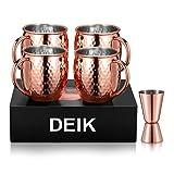 Deik Tazza Moscow Mule Bicchieri per Cocktail 4 Grandi Bicchieri di Rame Doppia Parete Nessun Rivestimento Fatto a Mano Liscio Gin, Russo, Vodka, Regalo