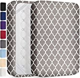 DREAMCARE Extra Deep Pocket Fitted Sheet Deep Pocket Fitted Sheet Only - Up to 21 Inch Mattress Sheet Queen Size Fitted Sheet, Quatrefoil Gray