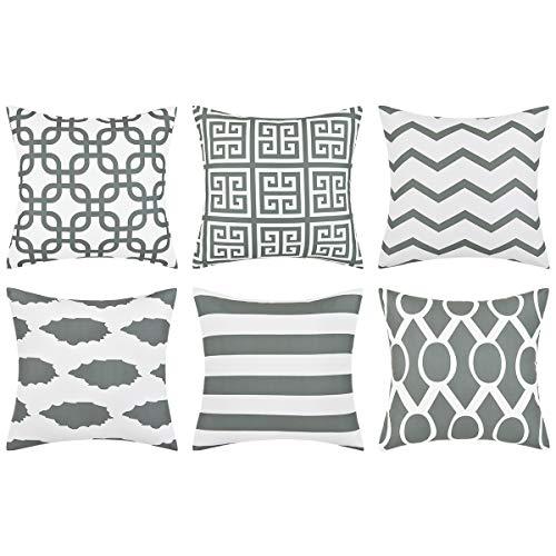 Alishomtll Kissenbezüge 45x45 cm Kissenhüllen 6er Set mit Geometrischen Mustern Dekokissenbezüge für Sofa Zimmer Zierkissenbezüge Grau Polyester
