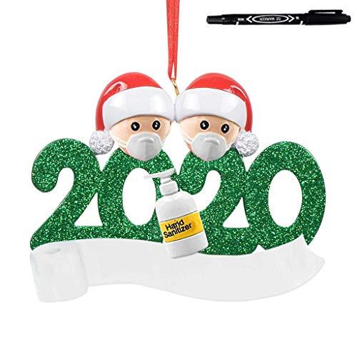 XSZ 2020 Weihnachtsmann, Weihnachtsstehende Ornamente Frohe Weihnachten Puppe Rechte, Sozialpartei Distanzierung Weihnachtsmann mit Maske, Bevölkerungsde Familie personalisierte Baum Ornament