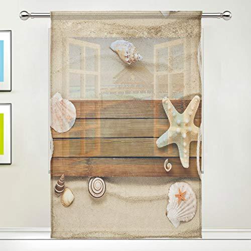 """Alarge Fenster-Vorhang, transparent, für Strand, Muschel, Seestern, Voile, Vorhang für Küche, Wohnzimmer, Schlafzimmer, Tür, Fenster, 1 Stück, Textil, multi, 55\"""" W x 78\"""" L"""