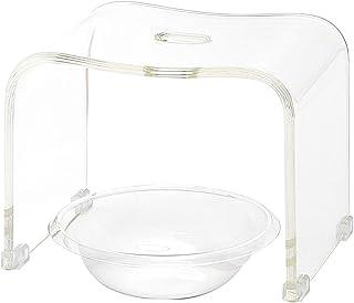アクリル バスチェア&ボウルセット 風呂椅子 洗面器 セット Mサイズ 高さ25cm クリアシリーズ(クリア)