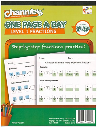 """Channie's One Page A Day Workbook, Beginner Single Digit Fraction Math Practice Worksheets, 50 Pages Front & Back, 25 Sheets, Grades 3rd, 4th, and 5th, Size 8.5"""" x 11"""" Summer School, Summer Bridge"""