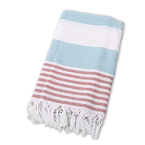 BEUFIRST Toalla de Piscina Grande 100% algodón. (100x180 cms). Toallas Playa algodón Fino 100% Natural. Muy absorbentes, Ligeras y de máxima suavidad. (Rojo)
