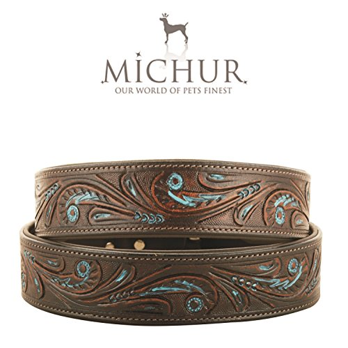 MICHUR Luis Hundehalsband Leder, Lederhalsband Hund, Halsband, Braun mit blauen Akzenten und schönem Stanzmuster, Leder, in verschiedenen Größen erhältlich