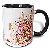 Tazza con lettera K su Pretty Pink n Orange Swirls 'Tazza nera bicolore, 11 once, multicolore