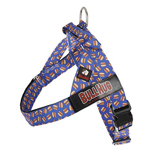 BULLHUG No Pull Harness for Small Dogs – Adjustable Walk Easy Harness for Dogs – Perfect Dog Training Vest Harness – Stop Pets from Pulling & Choking Easy-Walk Harness - Burger-Blue Dog Harness