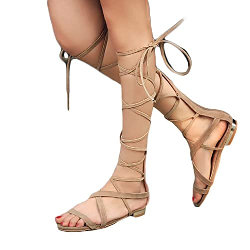 3b715d6e8 Shoe'N Tale Women Suede Leather Lace Up Knee High Gladiator Flat Sandals