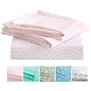 Vonty Kids Bed Sheets Twin Pink Heart Printed Sheets for Girls Soft Lightweight Microfiber Easy Wash Bedding Set  1 Fitted Sheet + 1 Flat Sheet + 1 Pillowcase