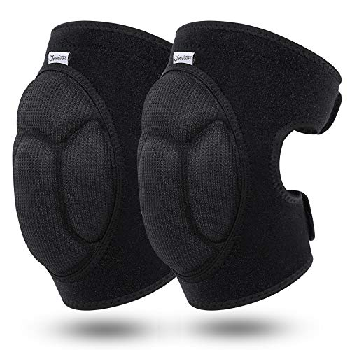Soudittur Adult Knee Pads for Gardening, Anti-Slip Collision Avoidance Kneepads with Thick EVA Foam, for House Cleaning, Construction Work, Volleyball, Football Dance Knee Sleeve, 1 Pair