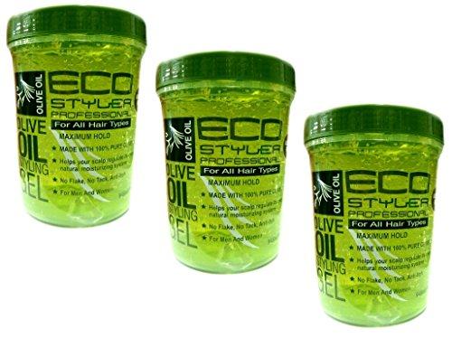 3x Eco Styler Olive Oil Styling Gel - Haargel 946ml (insgesamt -2,84L)