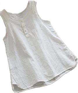 Hokny TD Women's Casual Button Front Summer Solid Color Cotton Linen Tank Top