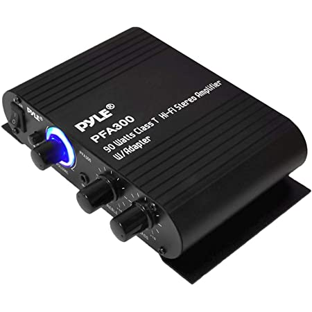 Power Home HiFi Stereo Amplifier - 90 Watt Portable Dual Channel Surround Sound Audio Receiver w/ 12V Adapter - For Subwoofer Speaker, MP3, iPad, iPhone, Car, Marine Boat, PA System - Pyle PFA300