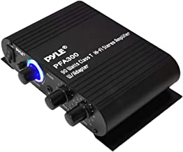 Power Home HiFi Stereo Amplifier - 90 Watt Portable Dual Channel Surround Sound Audio Receiver w/ 12V Adapter - For Subwoofer Speaker, MP3, iPad, iPhone, Car, Marine Boat, PA System - Pyle PFA300,Black,8.30in. x 6.90in. x 2.10in.