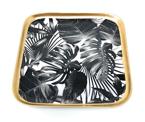 SoulSisters Living Black Leaves Glasuntersetzer 4er-Set Keramik 11x11cm im Jungle Motiv - Getränke- Untersetzer für Tassen, Tisch, Bar, Glas, Gläser / 4er Set viereckig schwarz Gold