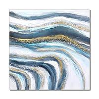 """現代の抽象的なブルーリバー海の絵画キャンバスプリントポスター現代の家の装飾のための北欧の壁アートPicutre60x60cm(24 """"x24"""")フレームレス"""
