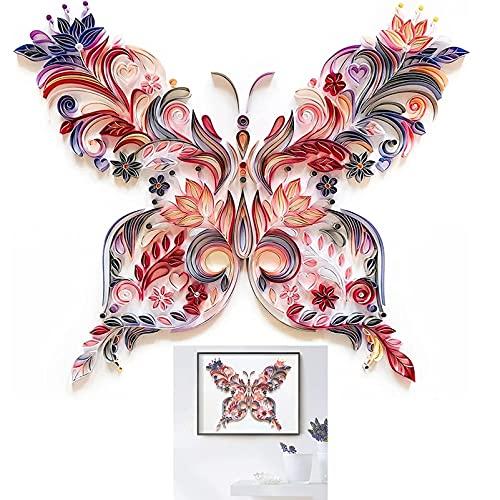 Quilling Papier Peinture Kit Papillons Fleur Art Decal Papier Filigrane Kits DIY Stickers Muraux Exquis pour Enfants Chambre Maternelle Décor À La Maison Meilleurs Cadeaux (Panneau de modèle EVA * 2 +