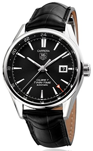 TAG Heuer Carrera Twin-Time Automatic WAR2010.FC6266 Herrenuhr Armbanduhr Swiss Made Automatik Dual Time GMT Gehäuse Edelstahl Band Krokoleder schwarz Faltschließe Saphirglas