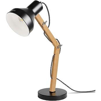 Tomons Lampe de Table Décoration, Lampes de lecture, Design pour Bureau et Table de Chevet, Salon, en Bois, ampoule LED, Noire