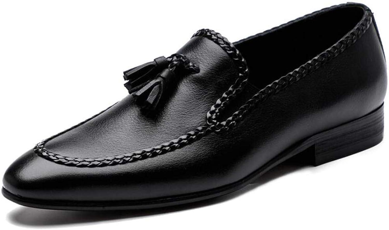 QZX chaussures Chaussures Cuir pour Hommes, Hommes Oxford Loafers Vintage Mocassin Chaussures Glisse sur Un Mocassin de Fumer Pantoufle Tassel Paresseux