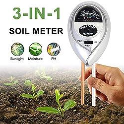 Sinicyder Bodentester, 3 in 1 Boden-pH-Messgerät, Boden Feuchtigkeit Meter für Feuchtigkeit/Sonnenlicht/pH für Pflanzenerde, Garten, Bauernhof, Rasen, Indoor, Outdoor - kein Batterien erforderlich