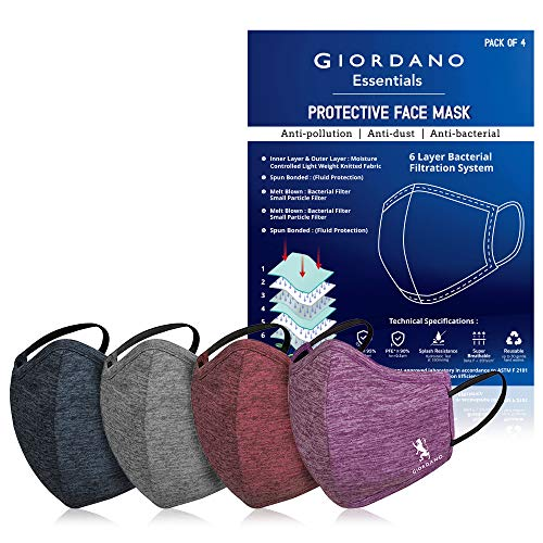 Giordano Sports Dri-fit Anti Pollution 6 Layer Reusable Outdoor Face Mask (Navy,...