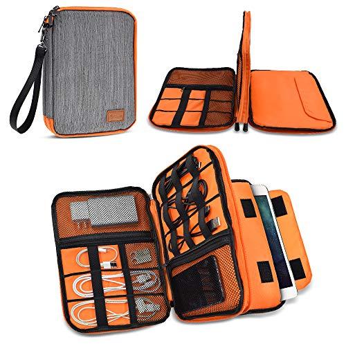 LIFEMATE Travel Organizer,Universal Double Layer Travel Gear Organizer Storage Bag/Electronics Accessories Organizer/USB Cable Organizer Bag - Large,Grey and Orange