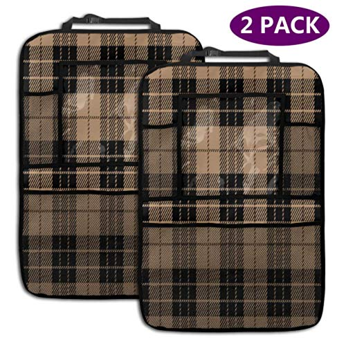2 Pack Car Backseat Organizer Black Beige Tartan Plaid Seamless Scottish Car Seat Back Protector with Storage Pockets for Toy Bottle Book Drink Universal Fit Travel Accessories for Kid