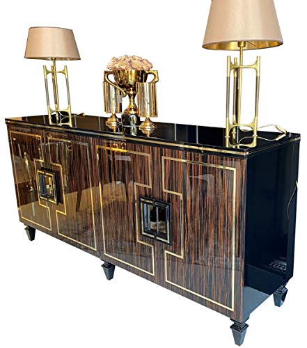 Casa Padrino aparador Art Decó marrón Oscuro/Negro/Oro 220 x 55 x A. 104 cm - Armario Noble con 4 Puertas y Tapa de Vidrio - Muebles de Salón Art Deco