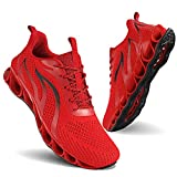MOSHA BELLE Men Running Shoes Non Slip Men Walking Shoes Lightweight Breathable Tennis Work Gym Athletic Exercise Cross Training Workout Treadmill Power Lifting Sneakers Young Men Red Black Size 10.5