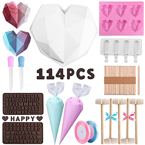 114Pcs Heart Shaped Silicone Molds Set with Big Heart Shaped Mold,Number and Letter Mold,Popsicle Mold,6 Cup Diamond Heart Shaped Cake Chocolate Silicone Candy Soap Jelly and Mold Making