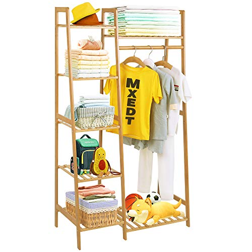 COOGOU Bamboo Wood Garment Rack Clothing Rack with 5 Tiers Storage Shelf Corner Clothes Hanging Rack for Coat Jacket Trouser Shoe Coat Plant in Home Laundry Commercial Office Ladder Design