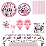 SPA Makeup Party Supplies, 85Pcs Spa Makeup Disposable Tableware with SPA Makeup Plates Cups Straws Napkins Balloons for Birthday Girls Party Spa Party Decorations