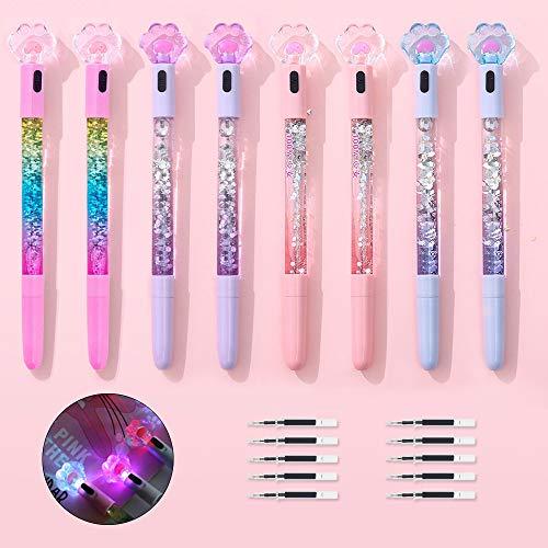 SITAKE 8 bolígrafos lindos Kawaii bolígrafos divertidos, bolígrafos luminosos brillantes con pata de gato de 0,5 mm, útiles escolares para niñas adolescentes