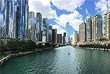 PANDABOOM Puzzle para Adultos 1500 Piezas, Distrito Central De La Ciudad De Chicago Río, Regalo De Cumpleaños Único