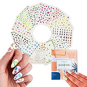Alice & Tiggs Set of 12 Sheets Nail Art Stickers - Designer Nail Decals - Butterfly Nail Stickers for Women - Nail Stickers for Kids - Butterfly Nail Decals - Nail Sticker for Nail Decor