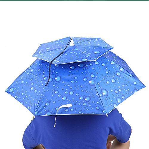 FAMKIT Quallen Regenschirm 77Cm Sonnenschutz Winddicht Kopf-Dach Montiert Top Falten Hut Regenschirm (Regentropfen Blau)