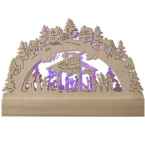 WeRChristmas - Decorazione Natalizia in Legno Intagliato, Natività, con Illuminazione a LED, 2 luci Che cambiano Colore, 23 cm